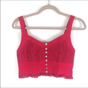 Free People Lace Red Button Up Crop Top